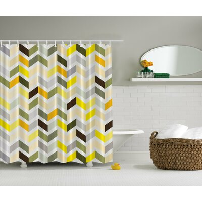 Retro Zig Zag Print Shower Curtain