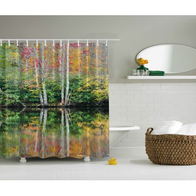 Faliage Reflection on a Lake Print Shower Curtain