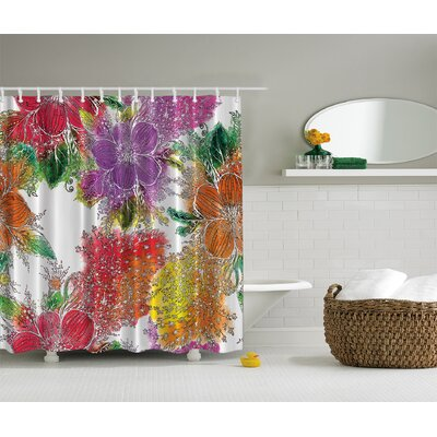 Bold Flowers Print Shower Curtain