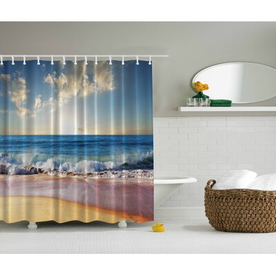Waves Ashore Print Shower Curtain