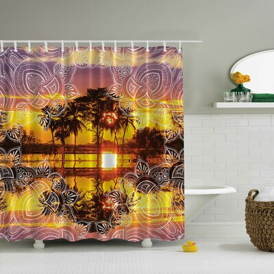Tropical Sunset in a Lace Frame Print Shower Curtain