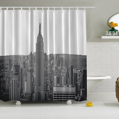Monochrome Manhattan Print Shower Curtain