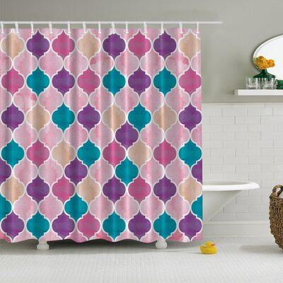 Modern Damask Print Shower Curtain