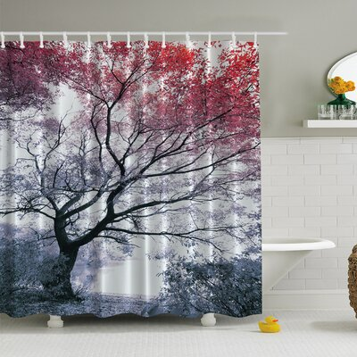 Lonely Tree Print Shower Curtain