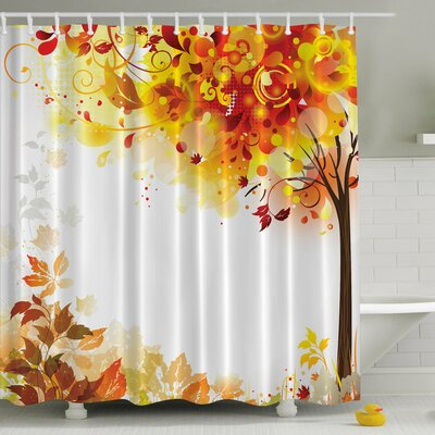 Fall Leaves Print Shower Curtain