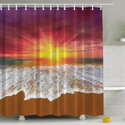 Sunset Beach Print Shower Curtain