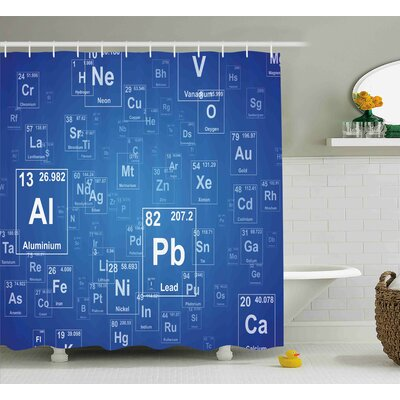Keeley Science Chemistry Tv Show Inspired Image With Periodic Element Table Image Print Art Shower Curtain Size: 69 W x 70 H