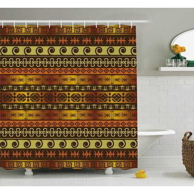 Moutanabi African Indigenous Motifs With Ethnic Ornaments Traditional Tribal Print Shower Curtain Size: 69 W x 70 H