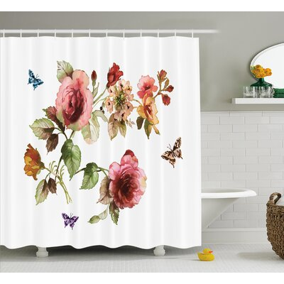 Chaney Shabby Elegance Roses Buds Leaves Tulips Floral Details Butterflynatural Print Shower Curtain Size: 69 W x 70 H