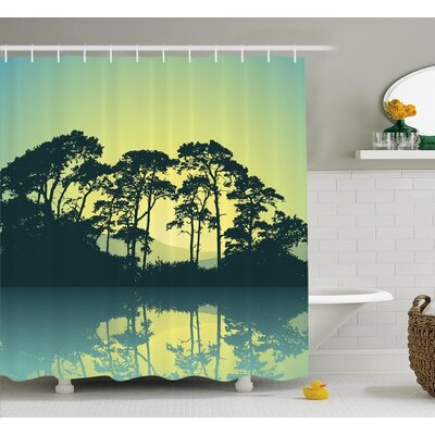 Atwells Mystic Forest With Trees Abstract Mountain View and Lake River Print Shower Curtain Size: 69 W x 75 H