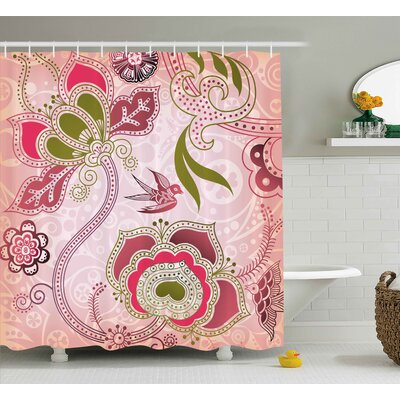 California Ethnic Indian Asian Floral With Scroll Swirl Leaf Lines Boho Artwork Shower Curtain Size: 69 W x 70 H