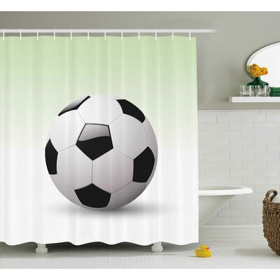 Hubert Sports Vector Image of Football Soccer Ball Artwork With Green Ombre Background Image Shower Curtain Size: 69 W x 70 H