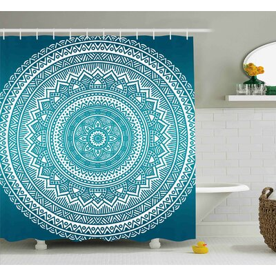 Delgado Turquoise Ombre Mandala Medallion Starry Design With Flower Shower Curtain Size: 69 W x 70 H