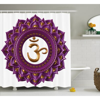 Montreal Vivid Digital Mandala Circle With Chakra Lettering Secret Hidden Powers Zen Image Shower Curtain Size: 69 W x 70 H