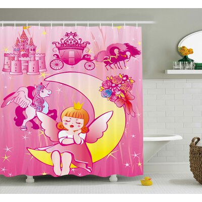Elmer Pink a Girl With Wings Sitting on The Moon a Unicorn Castle and The Stars Illustration Shower Curtain Size: 69 W x 70 H