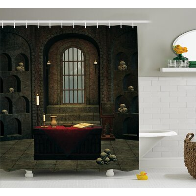 Gothic House Fantasy Spell Casting Warlock Witch Skulls Shelves Candles Spooky Scenery Shower Curtain Size: 69 W x 75 H
