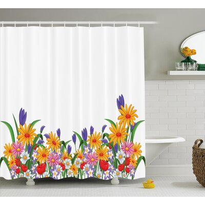 Randolph Cartoon Like Print Garden Floral Daisies Violets Tulips Nature Theme Decor Shower Curtain Size: 69 W x 70 H