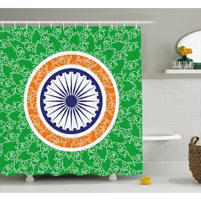 Bruges Chakra Indian Independence Day Celebration Concept With Spinning Wheel of Light Motif Shower Curtain Size: 69 W x 70 H