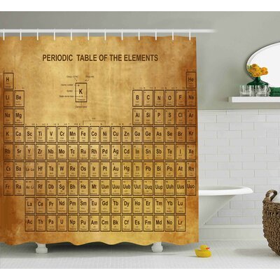 Bahari Science Elements Chemistry Table Vintage Old Design For Scientists Student Print Shower Curtain Size: 69 W x 70 H
