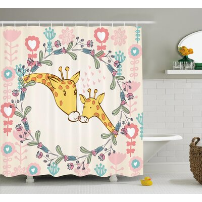 Michele Giraffe Cartoon Mom and Animal Figures Surrounded By Floral Ornaments Heart Shapes Flowers Love Shower Curtain Size: 69 W x 84 H