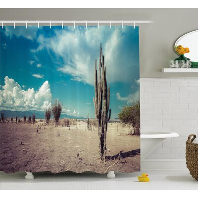 Azilal Cactus Abandoned Desert With Dried Cactus Flowers on a Sunny Hot Day Photo Image Shower Curtain Size: 69 W x 70 H