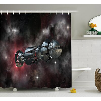 Eula Galaxy Spaceship Shower Curtain Size: 69 W x 70 H