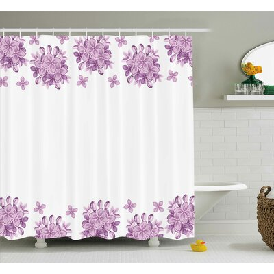 Boxwood Gardening Theme Illustration of Lilac Flowers Pattern Romantic Design Print Shower Curtain Size: 69 W x 70 H