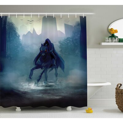 Copeland Fantasy Horseman With Hood Riding Mystic Foggy Forest Road Fairytale Theme Shower Curtain Size: 69