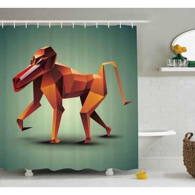 Etta Geometric Wildlife Vector Illustration of Polygonal Monkey Baboon Print Shower Curtain Size: 69 W x 70 H