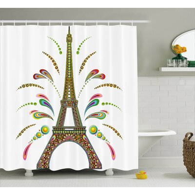 Francisca France Eiffel Tower Theme Abstract Fireworks Design With Rainbow Patterns Print Art Shower Curtain Size: 69 W x 75 H