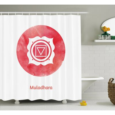 Zosia Chakra Watercolor Image of Authentic Form With Oriental Details Subtle Body Concept Shower Curtain Size: 69 W x 70 H