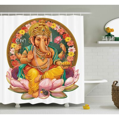 Jardine Indian Elephant Shower Curtain Size: 69 W x 75 H