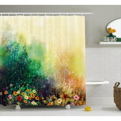 Montoya Flower Bed on Valley Shower Curtain Size: 69 W x 75 H