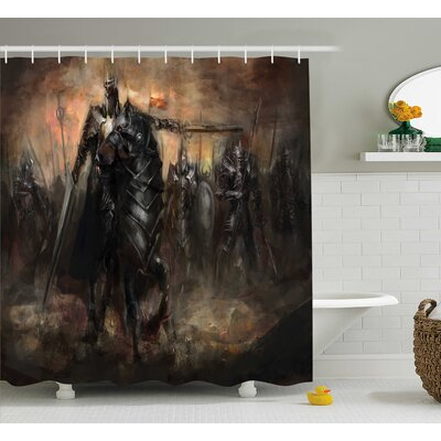 Flynn King With Armor Leading Army War Evil and Good Ancient City Image Shower Curtain Size: 69 W x 70 H