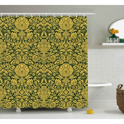 Barnstormer Victorian Baroque Flower Motifs With Swirl Petals and Branches Print Shower Curtain Size: 69 W x 70 H