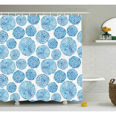 Marshall Watercolor Japanese Flower Circle Petal Pattern Spring Inspired Hand Drawn Print Shower Curtain Size: 69 W x 70 H