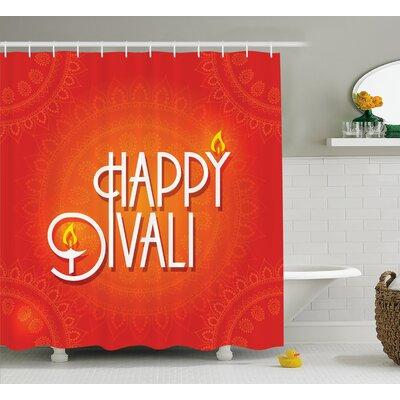 Mechra Diwali Happy Diwali Wish Festive Celebration Candles Fires Paisley Backdrop Print Shower Curtain Size: 69 W x 70 H