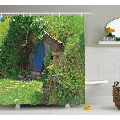 Hobbits Fantasy Hobbit Land House Shower Curtain Size: 69 W x 75 H