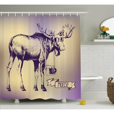 Arusha Moose Hipster Deer With Shade Sunglasses and Camera Vintage Ombre Design Funny Animal Art Shower Curtain Size: 69