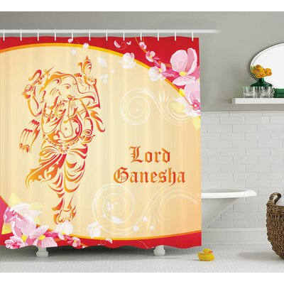 Warner Indian Elephant Goddess and Pink Flowers Religious Design Deity Illustration Shower Curtain Size: 69 W x 75 H