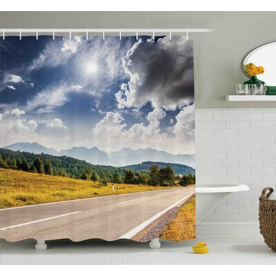 Roberta Landscape American Desert Abandoned Road Hot Bright Sunny Clouds Artwork Image Shower Curtain Size: 69 W x 70 H