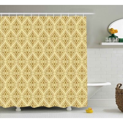 Annahda Damask Victorian Vintage Royal Ornamental Tiles Middle Age Renaissance Pattern Shower Curtain Size: 69 W x 70 H