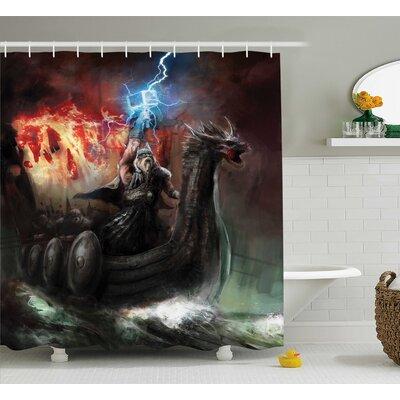 Fantasy World Lightning Wrath Shower Curtain Size: 69 W x 70 H