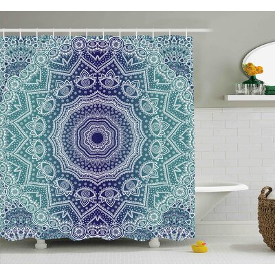 Maggie Navy and Teal Cosmic Diagram Art Mandala Circle Religion Indian Ombre Art Illustration Shower Curtain Size: 69 W x 70 H