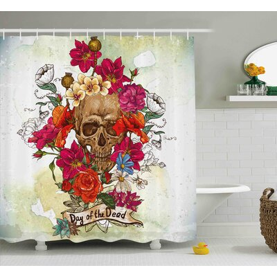 Kent Day of The Dead Skull Dead Head With Flowers Daisies Spanish Festive Tradition Print Shower Curtain Size: 69 W x 70 H