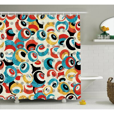 Paige Retro Theme Circle Pattern Evil Eyes Design Techno Trance Decorations Art Print Shower Curtain Size: 69 W x 84 H
