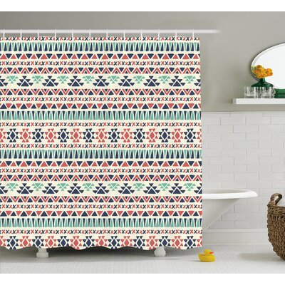 Della Tribal Navajo Antique Design Ethnic Earth Colors Simple Geometric Art Shower Curtain Size: 69 W x 70 H
