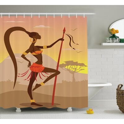 Hajeb Savannah Lady Like Amazon Girl Standing For Hunt Safari Style Retro Folk Print Shower Curtain Size: 69 W x 70 H