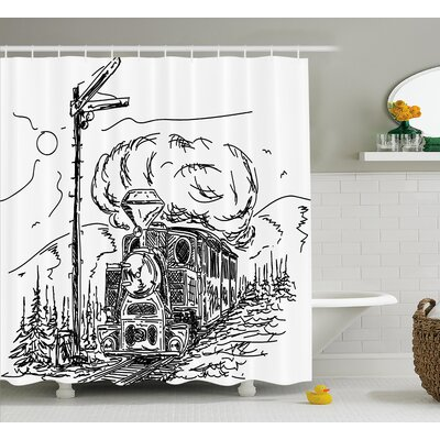 Jose Steam Engine Black and White Old Train on Railroad Sketch Effect Vintage Traveling Print Shower Curtain Size: 69 W x 75 H