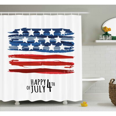 4th of July Celebrating Background With Charming Stars Memorial Historic Digital Print Shower Curtain Size: 69 W x 70 H